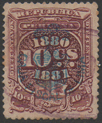 1880-1, 10c lake with blue o/print, Peru Fiscal, Revenue, Cinderella.