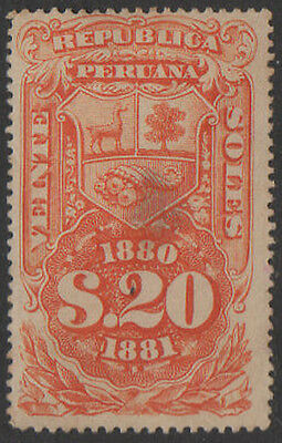1880-1, 20 sol orange Peru Fiscal, Revenue, Cinderella.