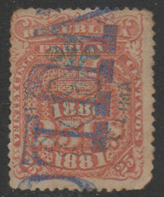 1880-1, 25c orange/brown  Peru Fiscal, Revenue, Cinderella.