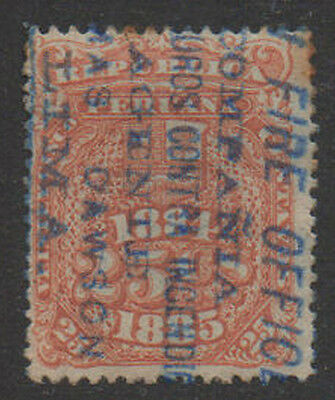 "1884-5, 25c orange/brown ""Fire Office"" o/print  Peru Fiscal, Revenue, Cinderella"