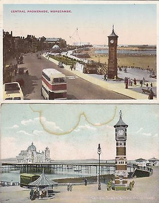 2 Old Postcard Morecambe Historic Buildings Clock Tower Bus Pier