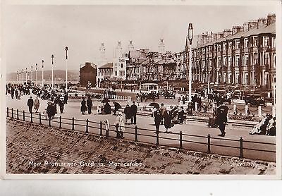 Old Postcard Morecambe Lancashire Seaside Town Bus Cars People 1930 A2