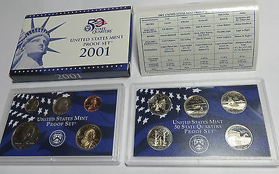 Usa America United States Kms Coinset Proof Set 2001 Inkl. State Quarters S Pp