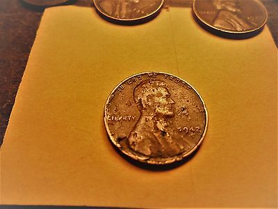 VG  1942 P Wheat Cent OBV   Lamination  ERROR WITH PEEL ALL OVER  # A42P