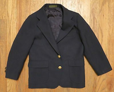 NORDSTROM Boy's Sport Coat Blazer Size 6 Regular Wool Blend Navy Blue Gold