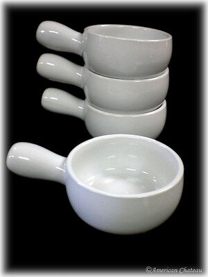 Set 4 Crock White Porcelain French Onion Soup Crocks Dishes Bowls w Handles