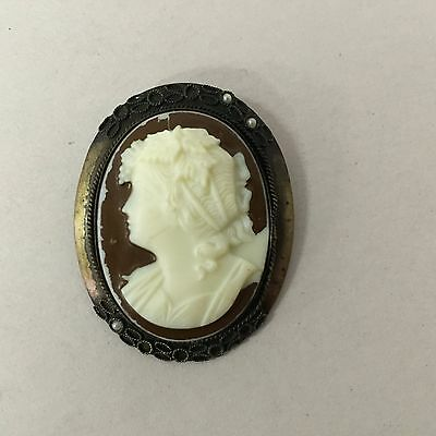 Vintage Hand Painted Cameo Seed Pearl Brooch