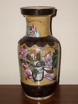 Chinese Crackle Glazed Porcelain Famille Rose Warriors Rouleau Vase, 19Th/20Th C