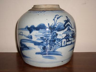 Chinese Blue & White Porcelain Riverside Landscape Jar (No Lid), 19Th Century