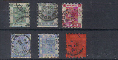 Hong Kong Q Victoria 1882-1901 Six values to 10c used