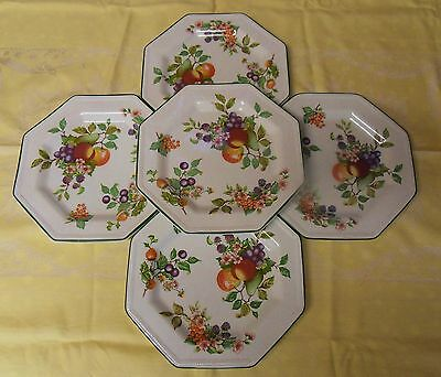 "JOHNSON BROTHERS FRESH FRUIT  SET OF Five 10"" DINNER PLATES"