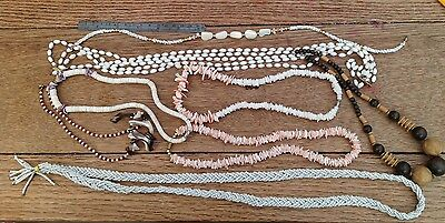 A Group Of Vintage Necklaces, Vintage Shell Bead And Wooden Bead Necklaces