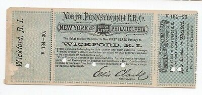 1800s~NORTH PENNSYLVANIA RR PASS WICKFORD RI~NEW LONDON~STONINGTON~PROVIDENCE#10