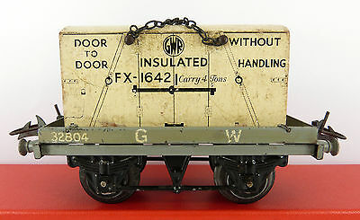 Pre War Hornby Series O Gauge Gw Flat Truck With Insulated Container