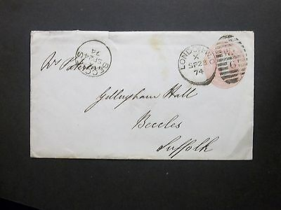 GB Stationery 1874 QV 1d Pink Envelope W.C 6 LONDON Duplex to Beccles Norfolk