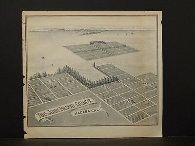 California, Fresno County Map, 1891 The John Brown Colony, Madera !L2#33
