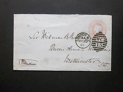 GB Postal Stationery 1880 QV 1d Pink Envelope WC 15 LONDON Duplex to Westminster