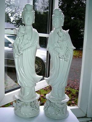 Large pair Chinese White Blanc de Chine porcelain Guanyin Goddess of Mercy 20thC