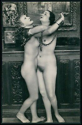 French nude Biederer slave Lesbian in chains original c1920s photo postcard