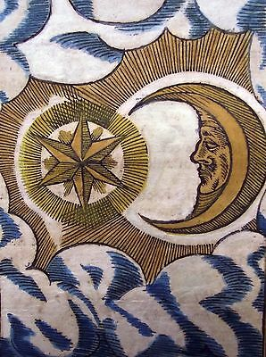 "1600 CELESTIAL VISION ""MAGICAL STAR"" rare 400 yr old antique woodcut leaf!"
