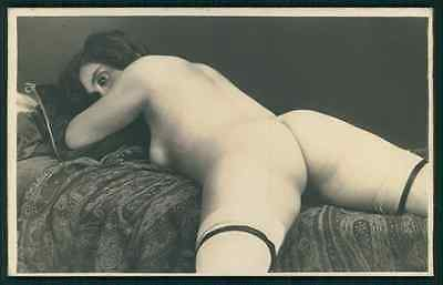 French nude Grundworth Butt & white stockings original c1920s photo postcard