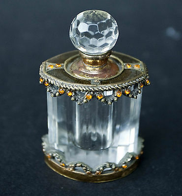 Vintage Faceted Glass Perfume Bottle Brass with Amber Glass Stones