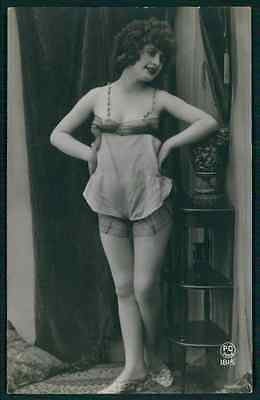 Erotic photo Dancing lingerie french risque nude sexy original 1920s postcard
