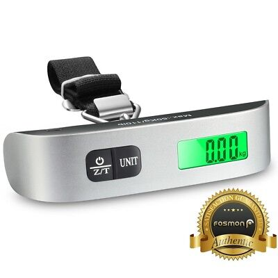 Fosmon Compact Protable Travel Temp Sensor Tare 110lb 50kg Digital Luggage Scale