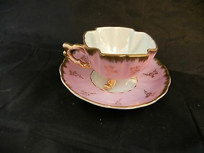 "Japan / Shafford  "" Hand Decorated ""   Opalescent  Tea Cup & Saucer  Pink - Exc"