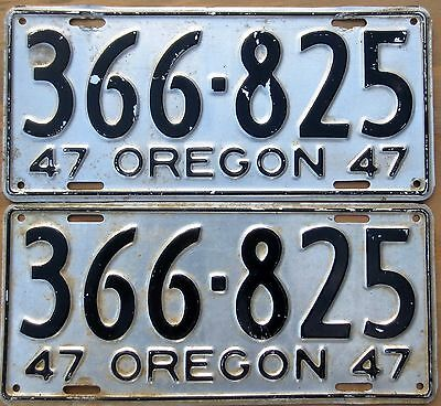 1947 Oregon License Plate Number Tag PAIR Plates