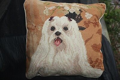 "MALTESE 14X14""    HANDMADE NEEDLEPOINTED PILLOW Last One"