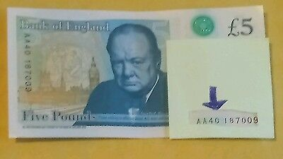 AA 40 Bank of England Polymer £5 Five Pound Note Genuine : Circulated - Rare