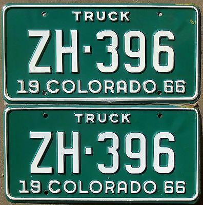 1966 Colorado License Plate Number Tag PAIR Plates – Truck