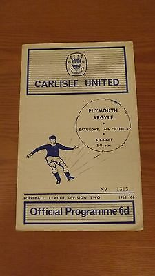 CARLISLE UNITED v PLYMOUTH ARGYLE - Division Two 1965/66