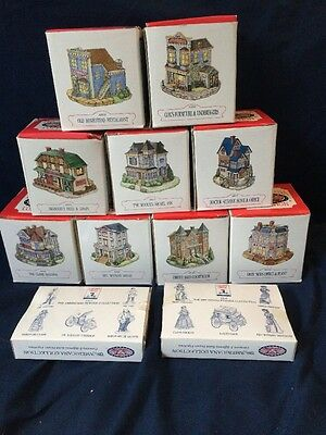 Lot of 11 Americana Collection Liberty Falls Christmas Village House Figures MIB
