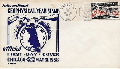 First day cover, Sc #1107, IGY, Mellone 8, COMPEX cachet, 1958