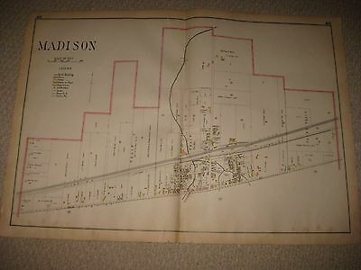 Huge Antique 1915 Madison Lake County Ohio Handcolored Map Buildings Detailed Nr