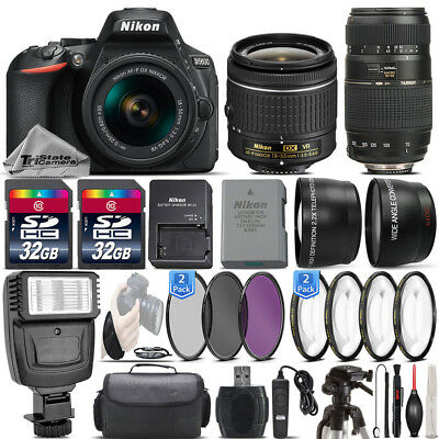 Nikon D5600 24.2MP DSLR Camera + 18-55mm VR Lens + 70-300mm Macro Lens -64GB Kit
