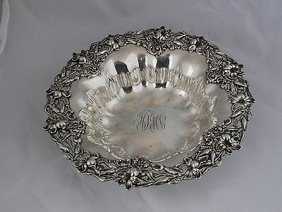 BAILEY BANKS & BIDDLE Art Nouveau Sterling Silver Floral Bowl 3809 10.5 In.