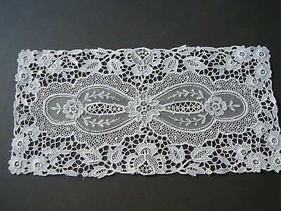 Old Antique topper small runer combo lace victorian Schiffli Lace &Tulle