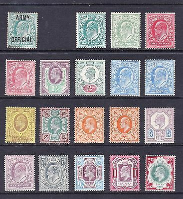 Superb Great Britain 1901-1910 Edvii Set Of Stamps Mounted Mint
