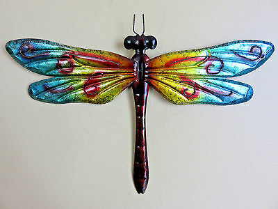 Metal Dragonfly 12.25 In. Turquoise Fence/patio Art Outdoor Decor Yard Art