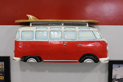 Classic Volkswagen Samba Bus Side Profile Painted Resin Wall Shelf 7580-118