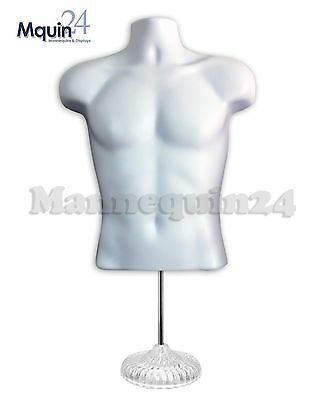 TORSO MANNEQUIN FORM WHITE MAN w/ ACRYLIC STAND +HANGING HOOK MALE DISPLAY