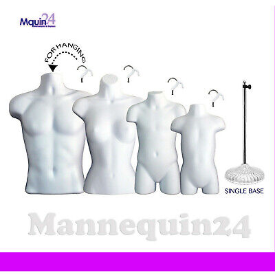 A Set Of 4 White Mannequins: Male, Female, Child & Toddler Body Forms +1 Stand