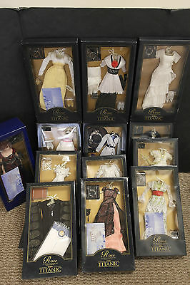 Franklin Mint Titanic Rose Doll And Lot of 12 NEW Ensembles Complete Set Reduced