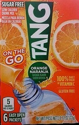 TANG ORANGE SUGAR FREE ON THE GO DRINK MIX (6 Boxes) 36 PACKETS