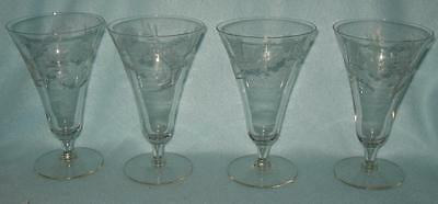 4 Vintage Etched Flared Goblets Footed Tumblers 8 Ounce