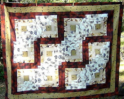 Dogs in the Log Cabin ~ Brown White Black Flowers Patchwork Cotton Quilt Top NEW
