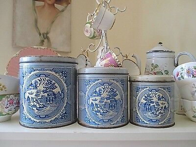 Set  3 Stunning Willow Pattern Vintage Tin Canisters Made By Willow Australia